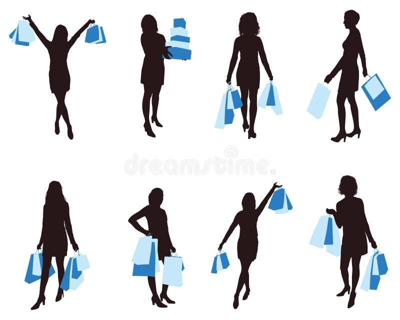 Femme de vecteur d'achats