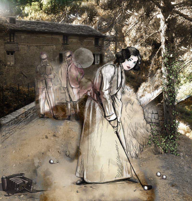Femme de vintage devant une assistance Media mélangé illustration libre de droits