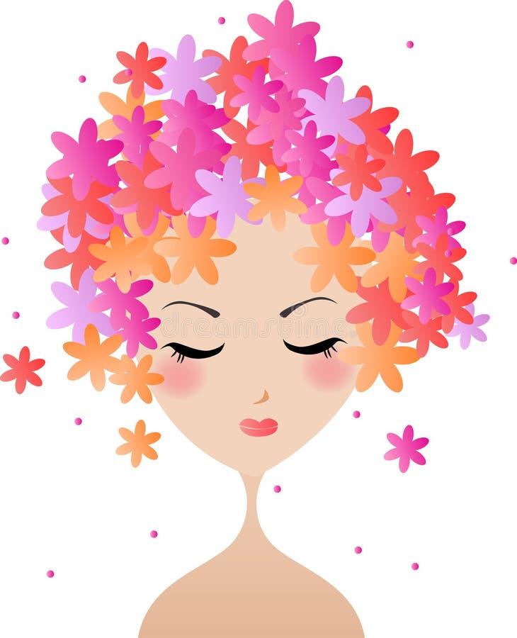 Femme de visage, coiffure florale illustration de vecteur