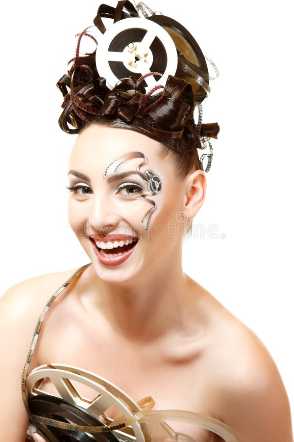 Femme de Vitage avec le beaux maquillage et coiffure de film de film d'art photo libre de droits
