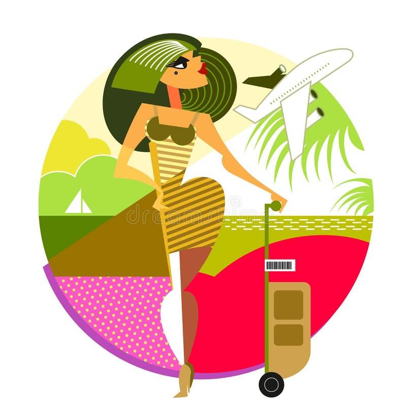 Femme de voyage Composition géométrique illustration stock