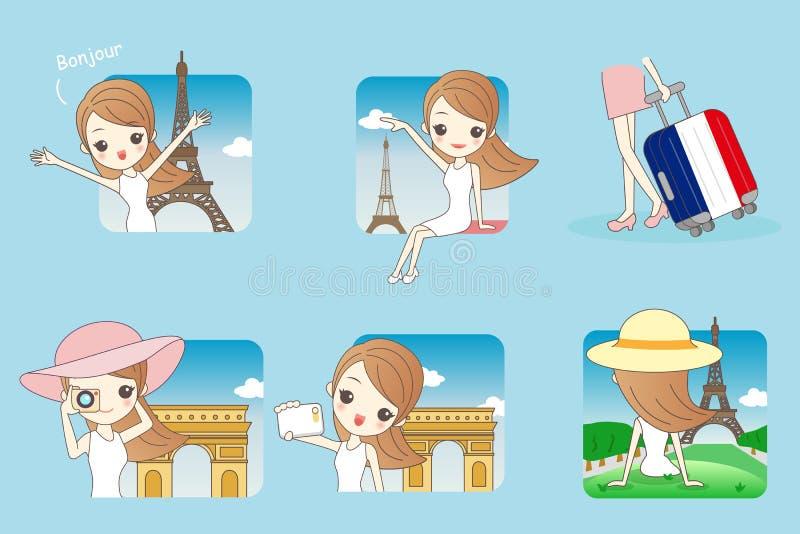Femme de voyage de bande dessinée à Paris illustration de vecteur