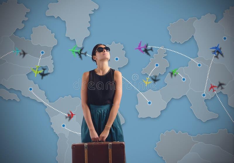 Femme de voyages aux quatre coins du monde photographie stock