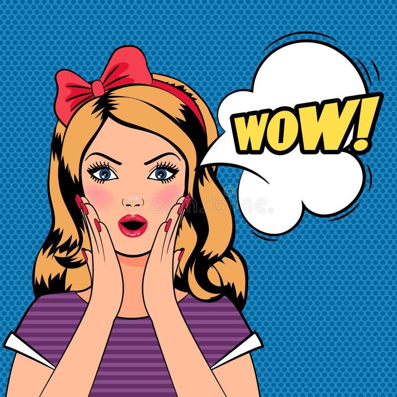 Femme de wow, bruit Art Woman avec le signe de wow illustration stock