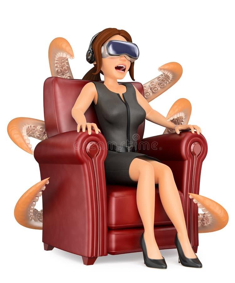 femme des affaires 3D observant un film effrayant avec le gl de réalité virtuelle illustration libre de droits
