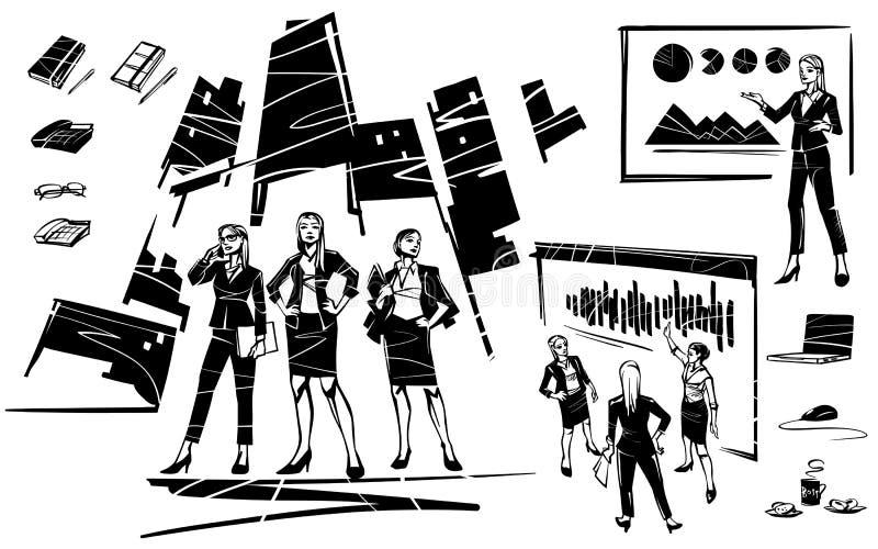 Femme des affaires trois sur le fond de la ville illustration libre de droits