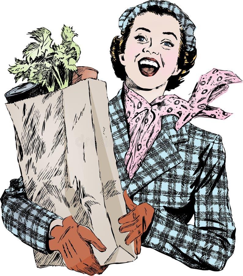 Femme des années 50 de cru avec des épiceries photos libres de droits