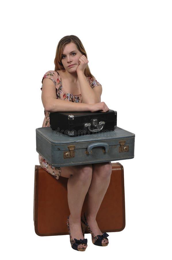 Femme dessus ou partant en vacances images stock