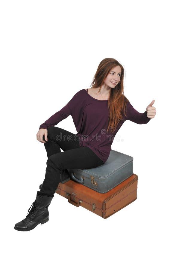 Femme dessus ou partant en vacances photographie stock