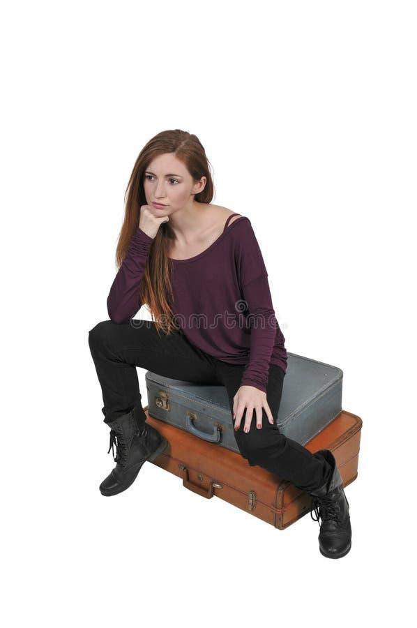 Femme dessus ou partant en vacances photo stock