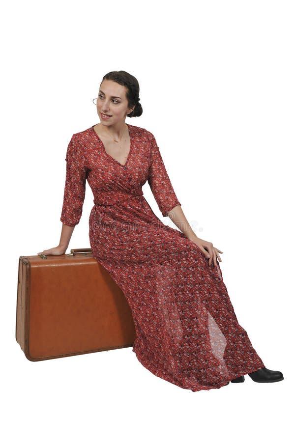 Femme dessus ou partant en vacances image libre de droits
