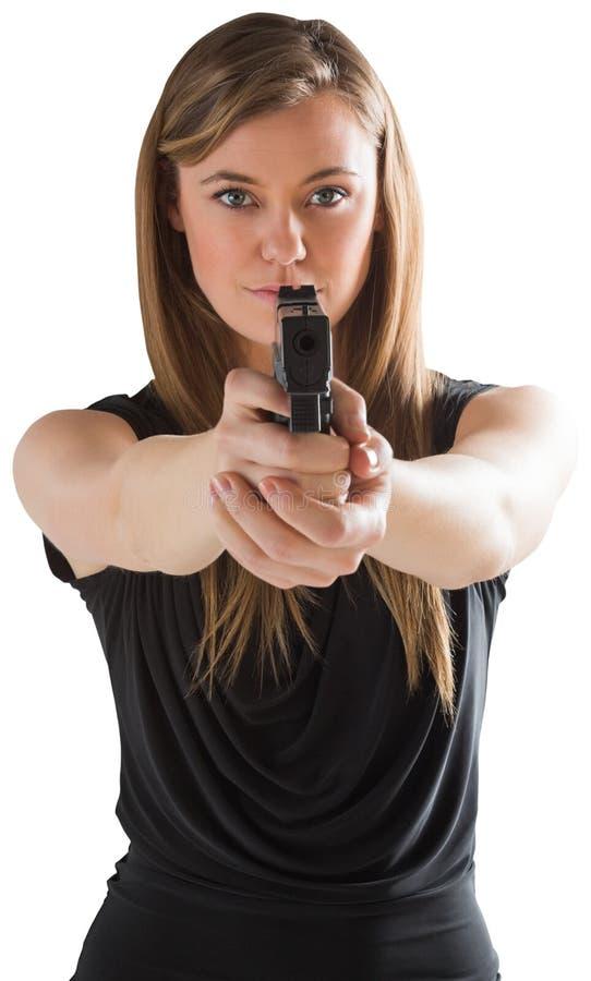 Femme die fatale kanon richten op camera stock afbeeldingen