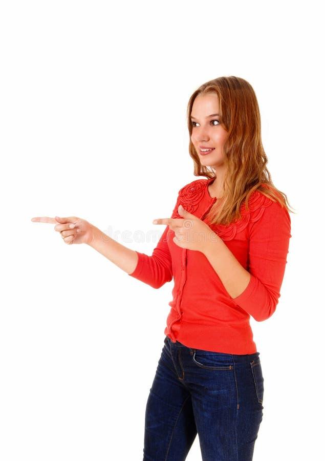 Download Femme dirigeant le doigt image stock. Image du femelle - 45352291