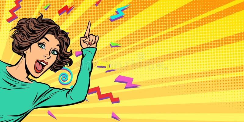 Femme dirigeant le doigt illustration libre de droits