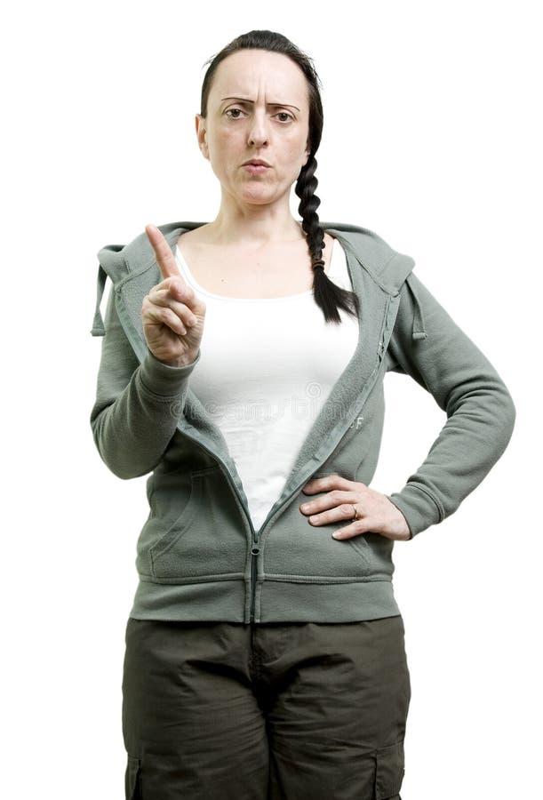 Femme disant le numéro image libre de droits
