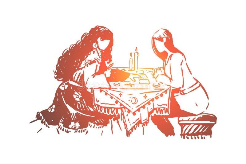 Femme, diseur de bonne aventure et client gitans, pr?vision de destin, pronostic, visite au devin illustration stock