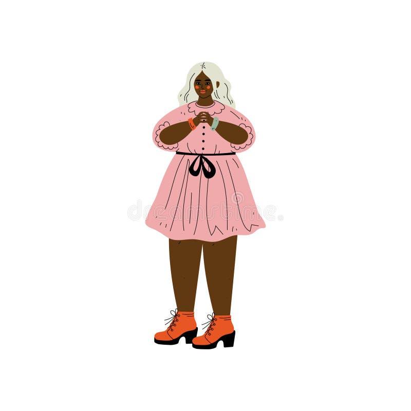 Femme dodue d'Afro-américain avec les cheveux blonds, personnage féminin aimant son corps, acceptation d'individu, diversité de b illustration stock