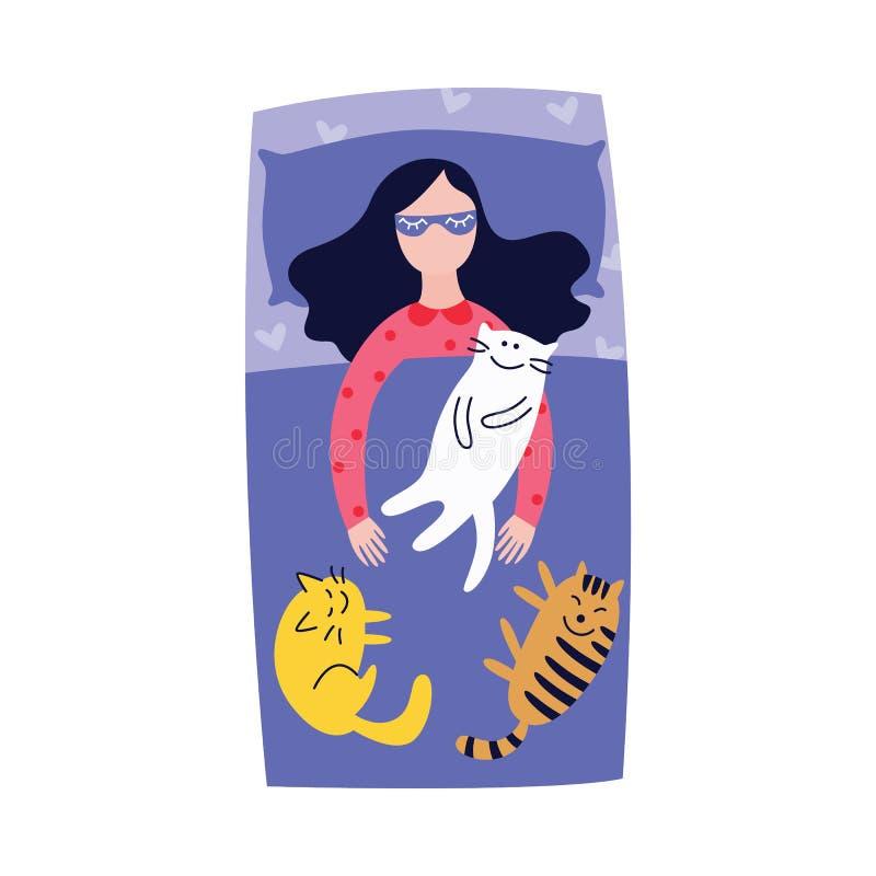 Femme dormant dans le lit avec le style plat de bande dessinée de plusieurs chats illustration stock