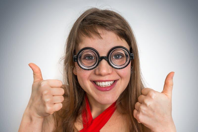 Femme drôle de connaisseur ou de ballot image stock
