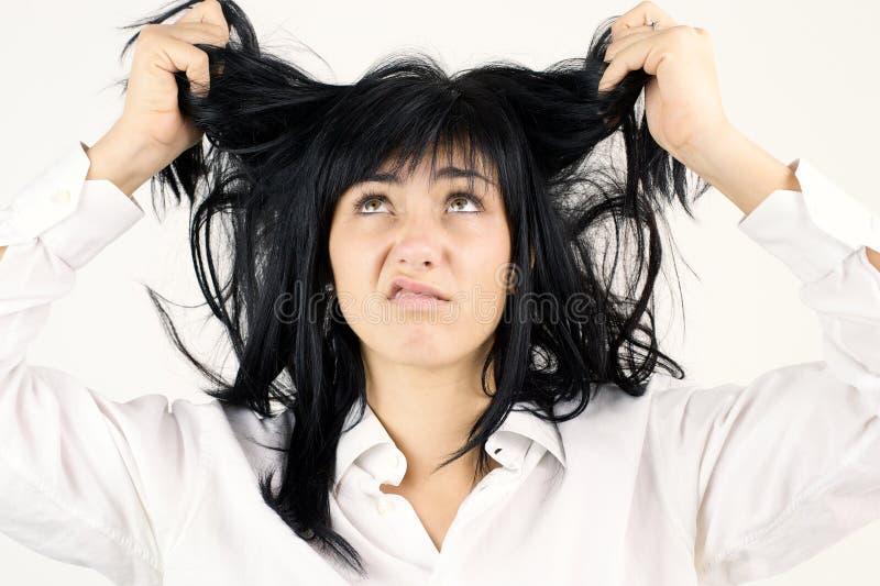 Femme drôle avec les cheveux malpropres photographie stock