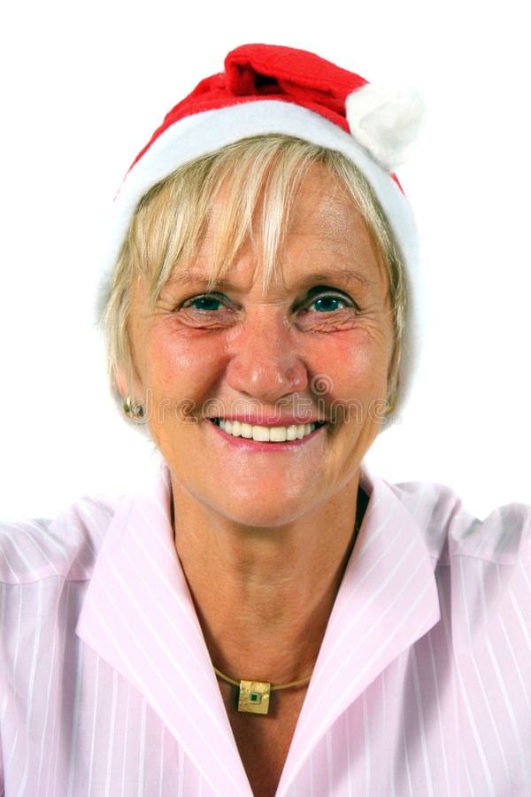 femme du chapeau s Santa photographie stock libre de droits