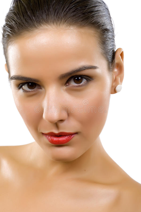 Femme effectuant des visages photo stock