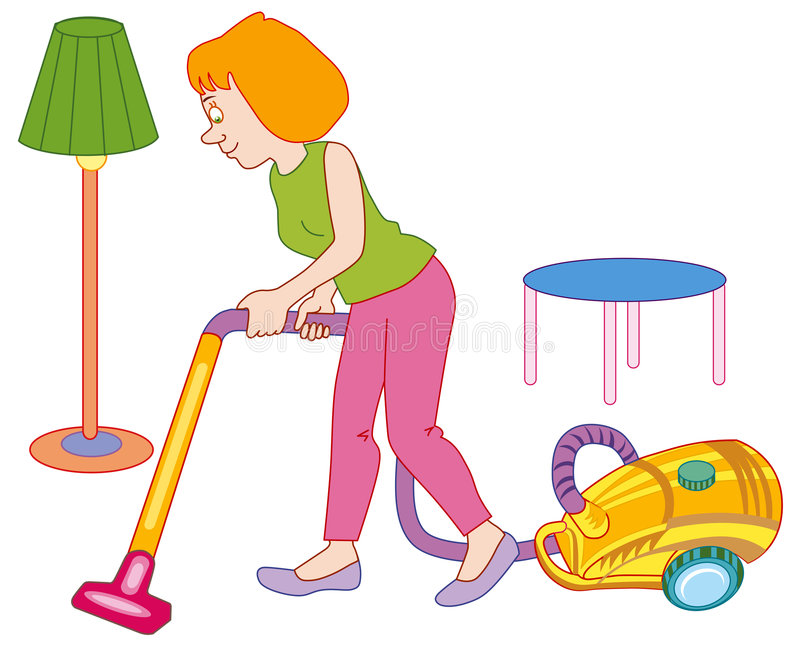 Femme effectuant le nettoyage de maison illustration libre de droits