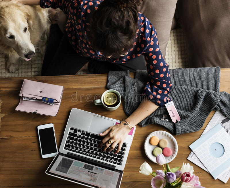 Femme employant le chien en ligne et choyant d'achats d'ordinateur portable image libre de droits