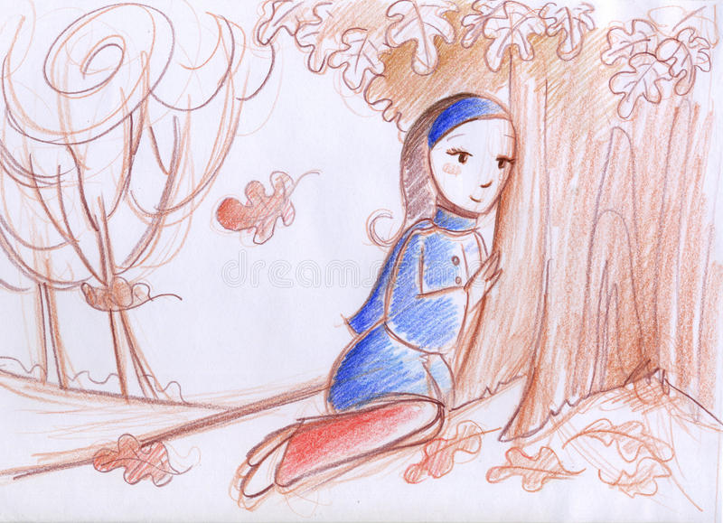 Femme en automne illustration stock