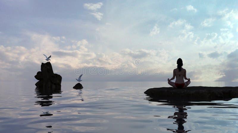 Femme en position de lotus de yoga par l'eau au crépuscule avec des mouettes voisines image stock