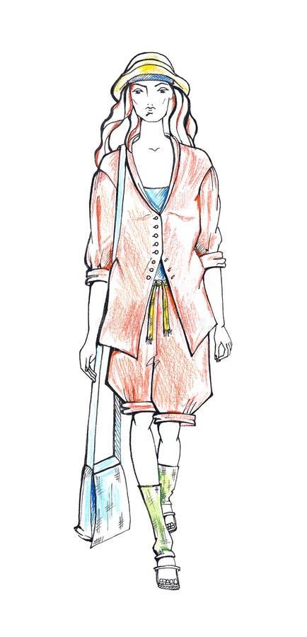 Femme en procès d'été. Croquis de mode image stock