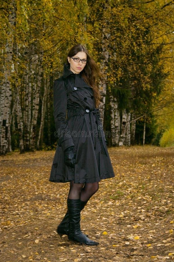 Femme en stationnement d'automne images libres de droits