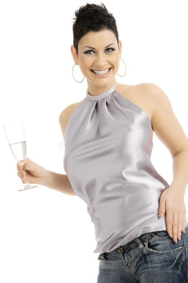 femme en verre de champagne image libre de droits