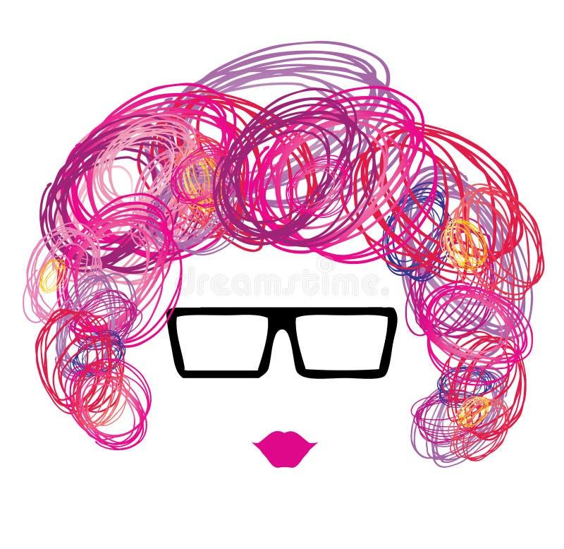 Femme en verres avec les cheveux bouclés de croquis illustration de vecteur