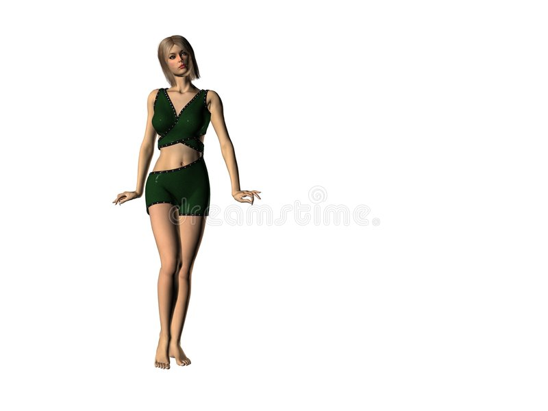 Femme en vert 19 illustration de vecteur