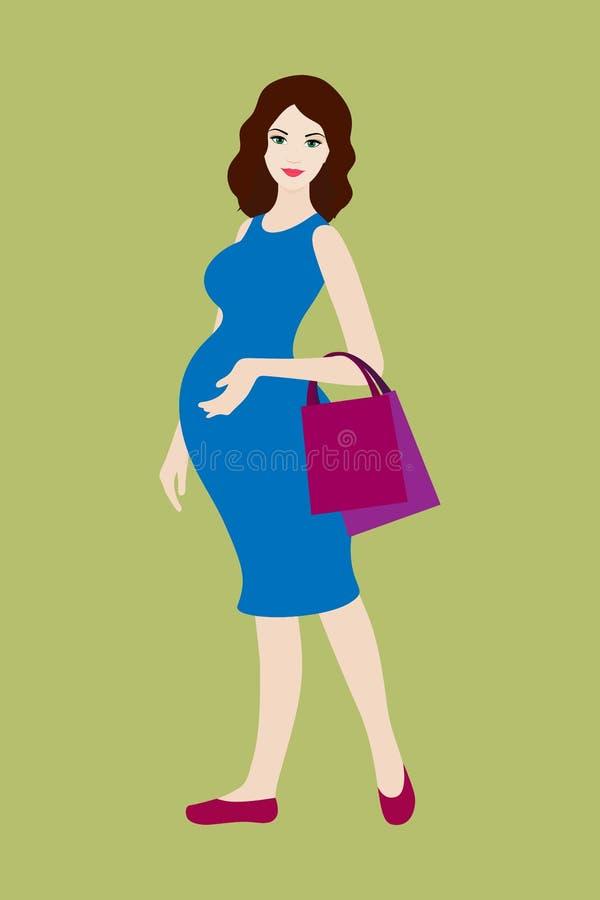 Femme enceinte avec des sacs à provisions illustration de vecteur