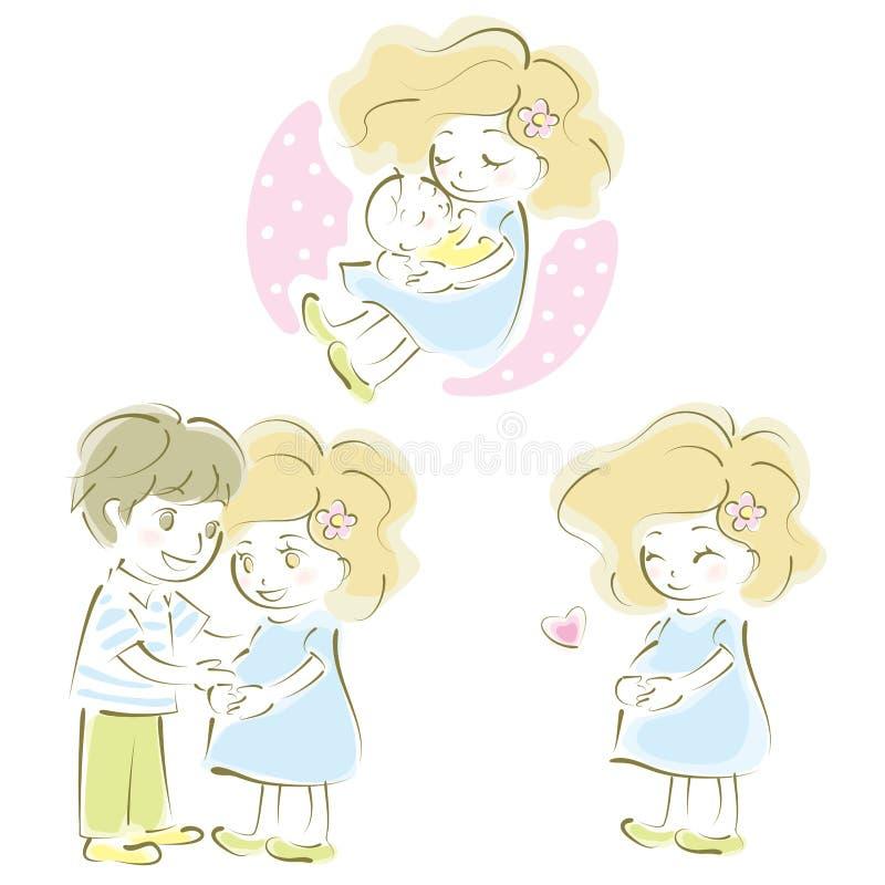Femme enceinte, couples, mère et père, bébé illustration stock