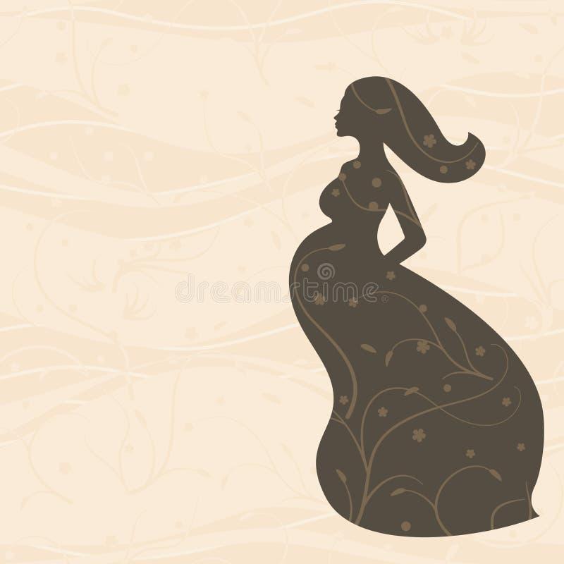 Femme enceinte dans la longue robe avec de longs cheveux sur le fond beige illustration stock