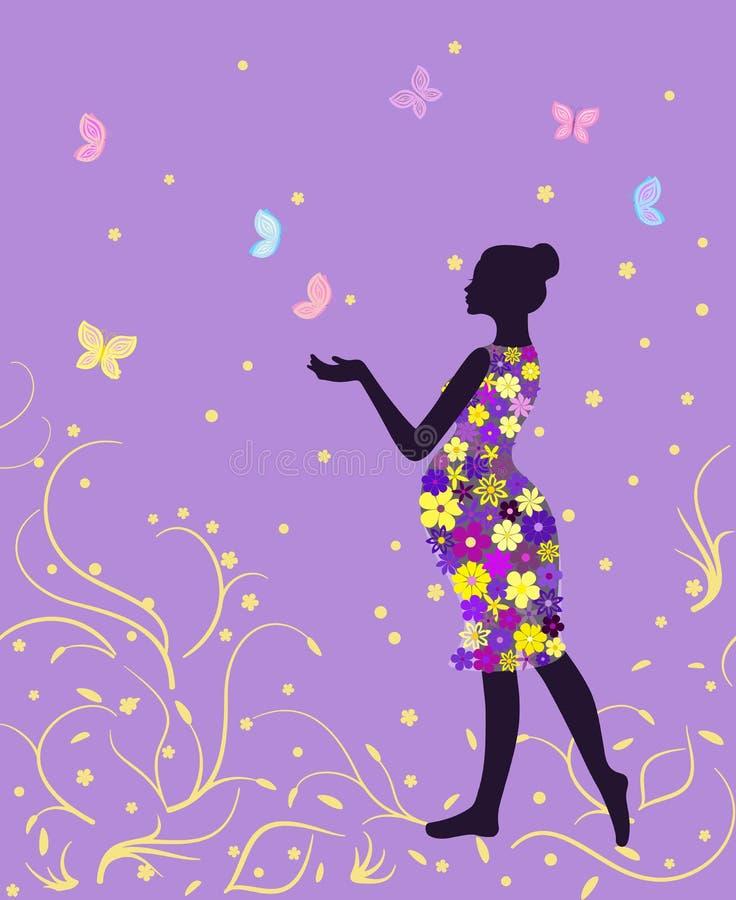 Femme enceinte dans la robe florale avec des papillons sur le fond de lavande illustration de vecteur