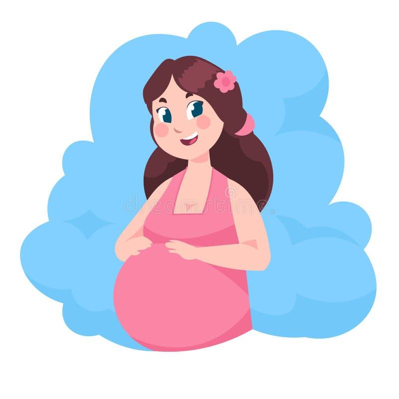 Femme enceinte de dessin anim? Jeune maman avec l'illustration plate de b?b?, la maternit? heureuse et l'accouchement Fille de ve illustration de vecteur