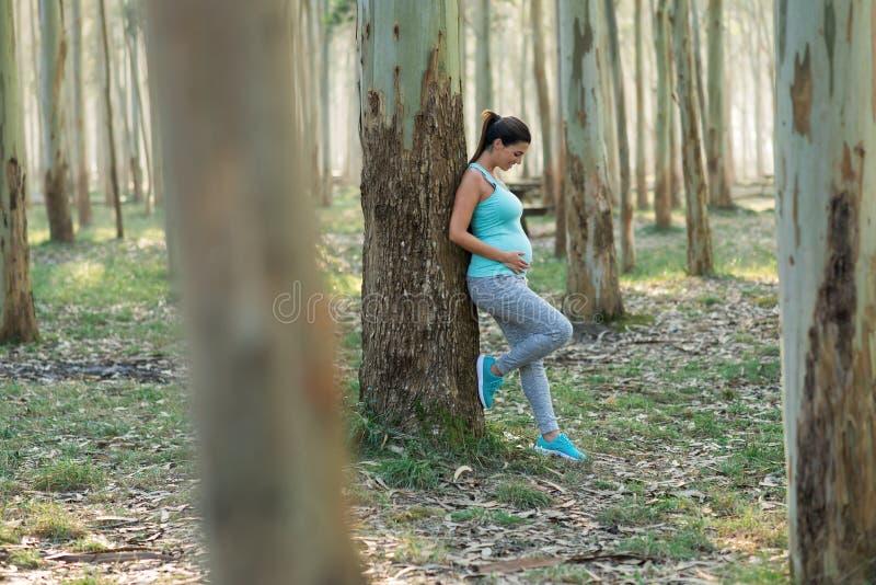 Femme enceinte de forme physique saine prenant un repos de séance d'entraînement images libres de droits