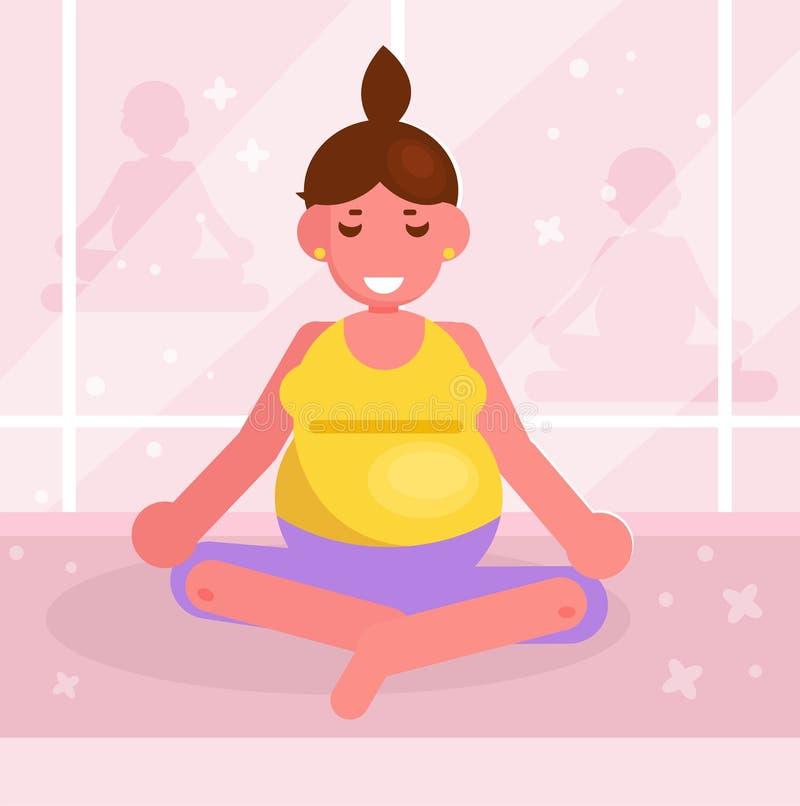 Femme enceinte faisant le yoga dans le vecteur de gymnase cartoon D'isolement illustration libre de droits