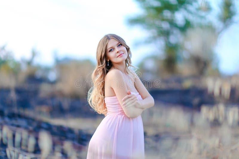 Femme enceinte heureuse portant la robe rose se tenant à l'arrière-plan brouillé image libre de droits