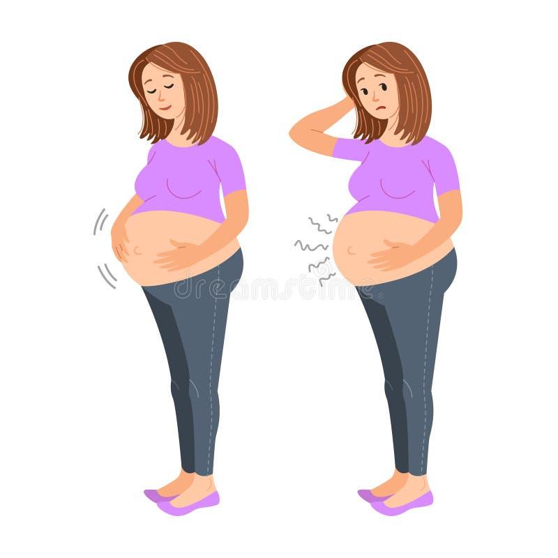 Femme enceinte se sentante Femme enceinte heureuse et triste Bonne et pauvre naissance enceinte et prématurée, douleur abdominale illustration stock