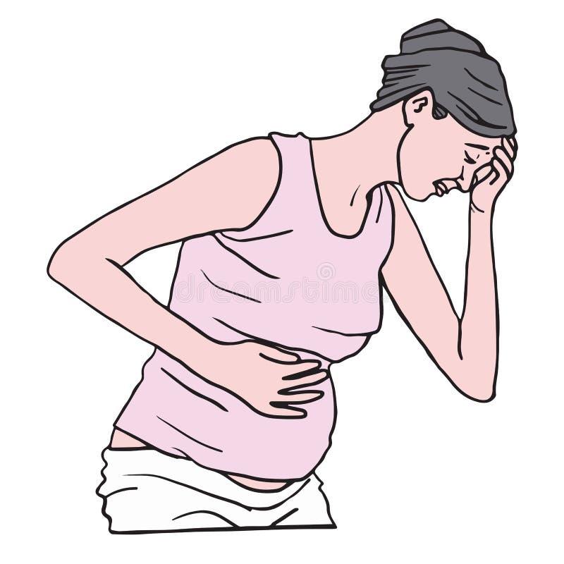 Femme enceinte souffrant avec la nausée pendant le matin Illustration de vecteur illustration libre de droits