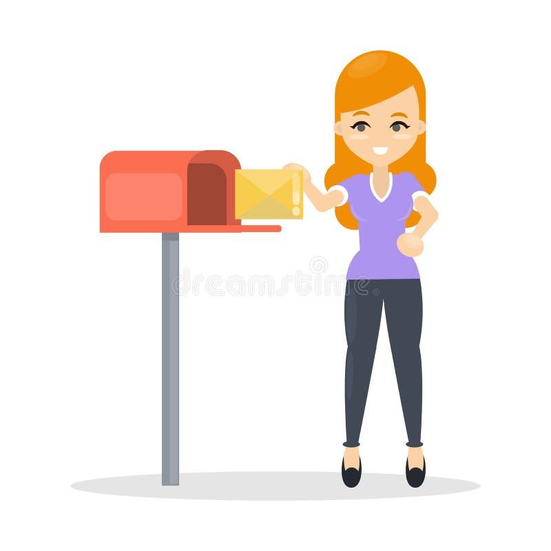 Femme envoyant la lettre illustration stock