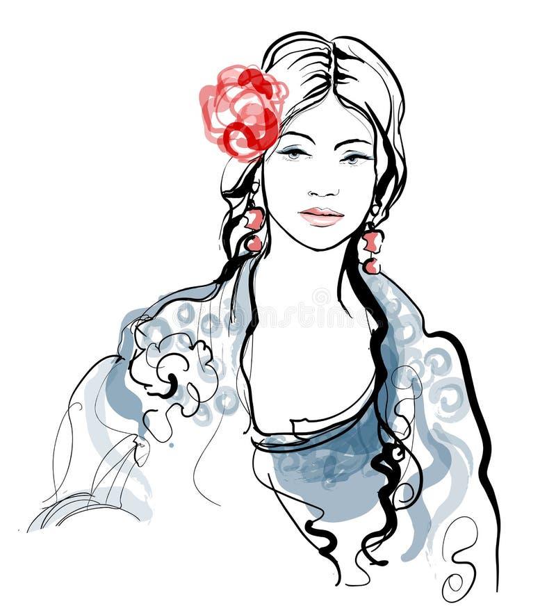 Femme espagnole traditionnelle de flamenco illustration de vecteur