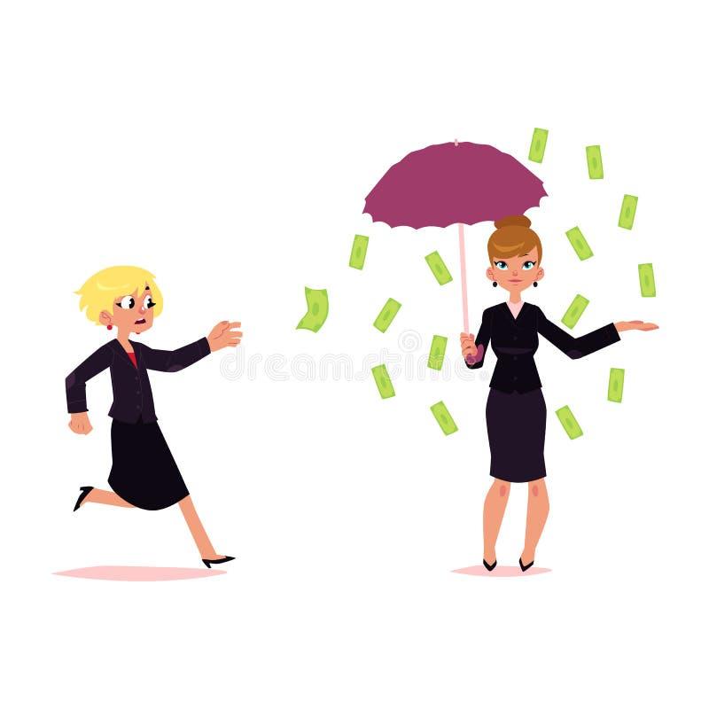 Femme essayant d'attraper l'argent de vol, pluie de billet de banque illustration de vecteur