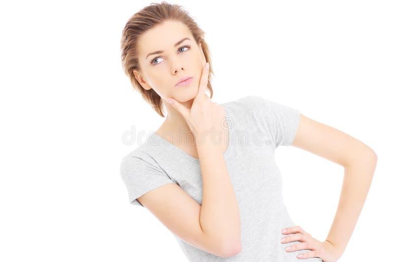 Femme essayant de prendre la décision images libres de droits