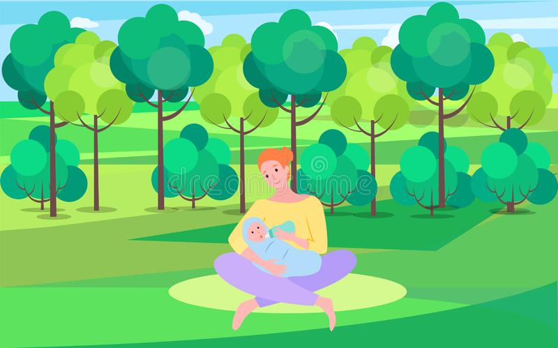 Femme et bébé dans Green Park, enfant de alimentation de mère illustration stock